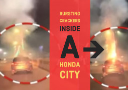 Crazy Car Bursting Crackers On The Move in Noida Goes Viral